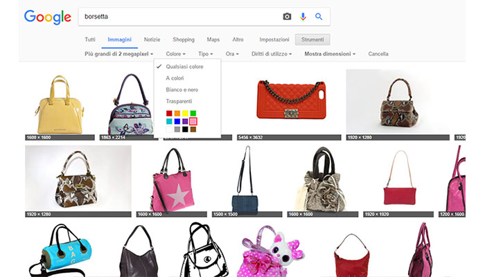 Trucchi per effettuare la ricerca in Google Immagini Filtro colore