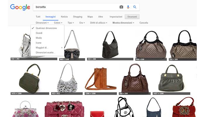 Trucchi per effettuare la ricerca in Google Immagini Filtro dimensione