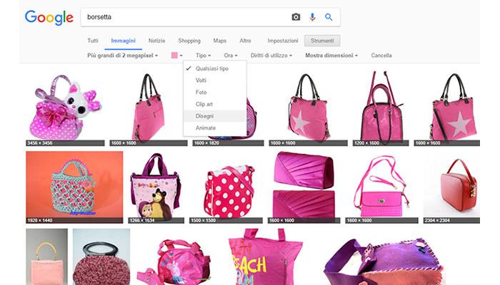 Trucchi per effettuare la ricerca in Google Immagini Filtro disegni