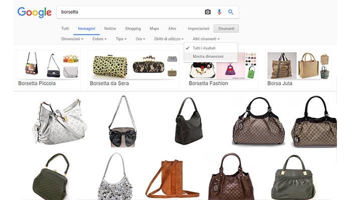 Trucchi per effettuare la ricerca in Google Immagini Mostra dimensioni