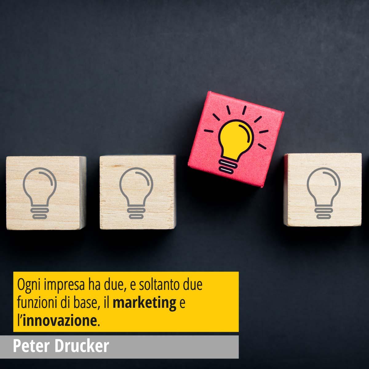 """In questa immagine una citazione del grande Peter Drucker, guru mondiale del Marketing """"Ogni impresa ha due, e soltanto due funzioni di base, il marketing e l'innovazione."""""""