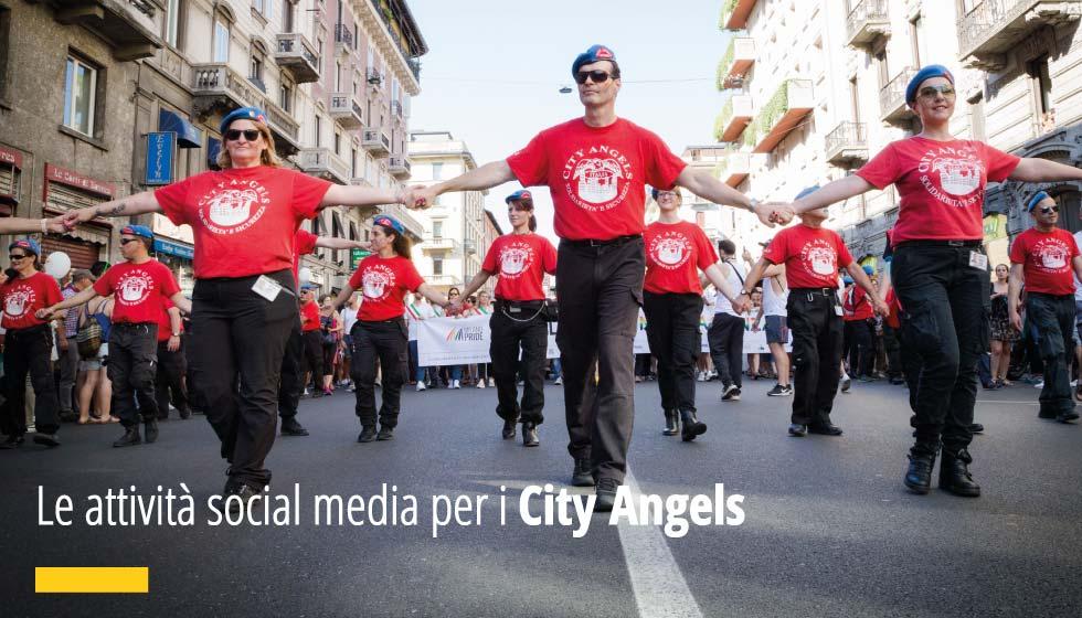 Riteniamo le attività di CSR Corporate Social Responsibility fondamentali per la giusta comunicazione ed integrazione dell'Azienda nella Comunità. Quest'anno abbiamo deciso di sostenere i City Angels, realizzando per loro alcune attività a supporto della loro Strategia Social. In questa fotografia i City Angels sfilano a Milano