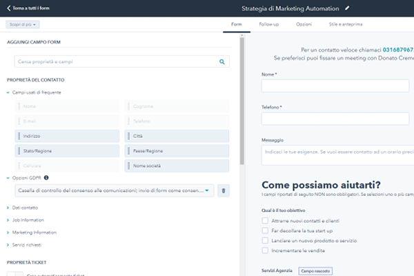 CRM HubSpot Starter Edition Creazione Form Di Contatto