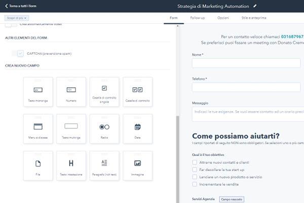 CRM HubSpot Starter Edition Personalizzazione Form Di Contatto