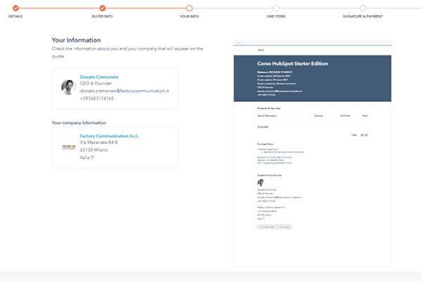 CRM HubSpot Starter Edition Setup Mittenti Offerta