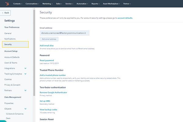 CRM HubSpot Starter Edition Setup Sicurezza Account