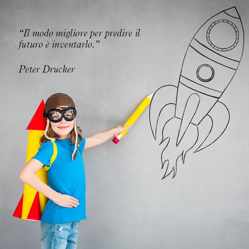 """Citazione di Peter Drucker """"Il modo migliore per predire il futuro è inventarlo"""""""