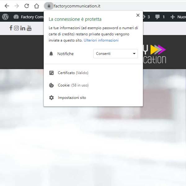 Il sito di Factory Communication utilizza lo standard HTTPS