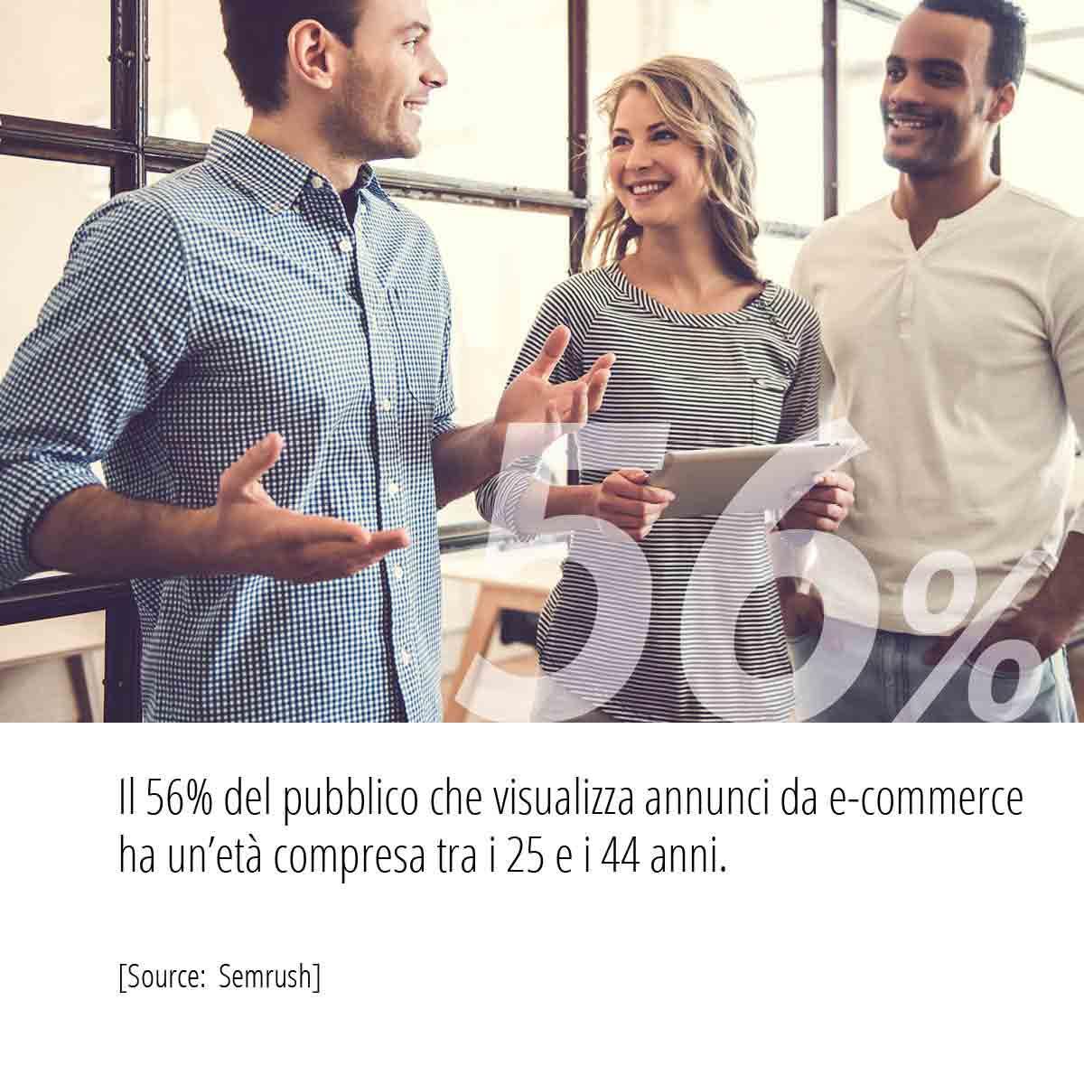 Statistiche Campagne PPC il pubblico che visualizza gli annunci PPC ha un età compresa tra i 25 e i 44 anni