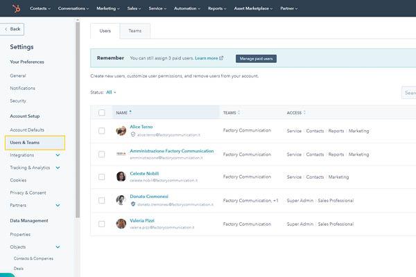 CRM HubSpot Starter Edition Setup E Gestione User E Team