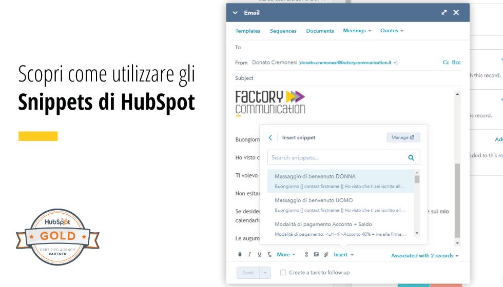 Utilizza Gli Snippets Di HubSpot Per Velocizzare Il Tuo Lavoro