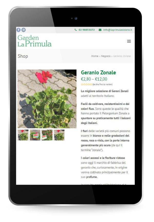 Factory Communication realizzazione di E commerce per Garden La Primula Prodotto