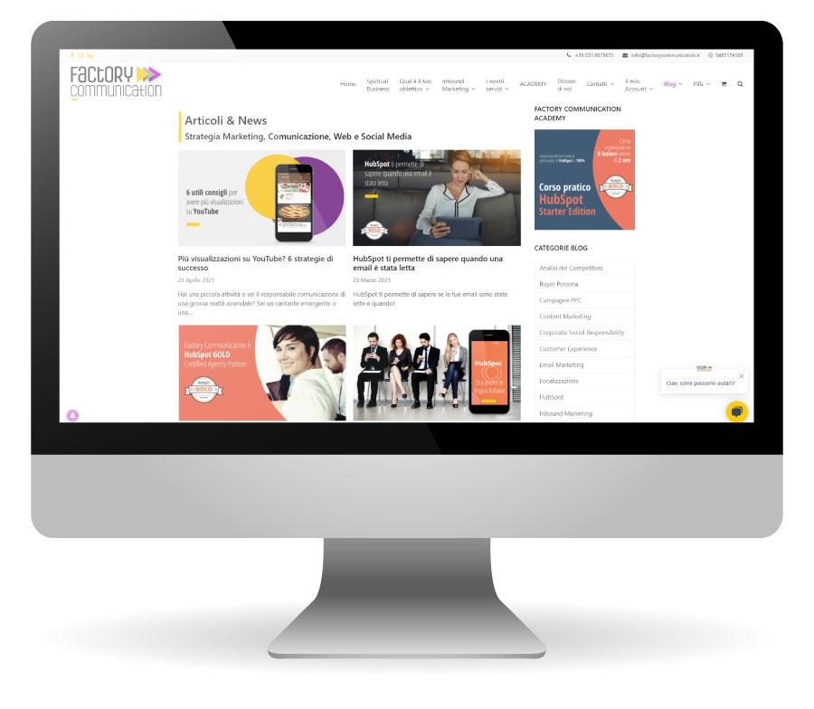 In questa immagine la sezione BLOG del sito di Factory Communication dove sono presenti oltre 200 articoli relative le Strategie di Marketing, Comunicazione, Web e Social Media.