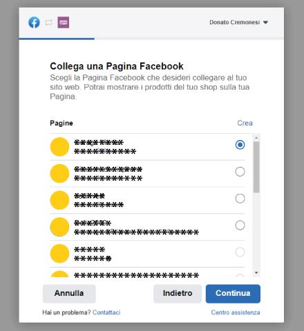 Factory Communication procedura connessione Facebook a WooCommerce - Step 3 - Collega una Pagina Facebook