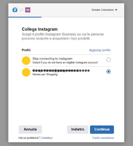 Factory Communication Setup plugin Facebook per WooCommerce - STEP 4 - Collega il tuo account Instagram