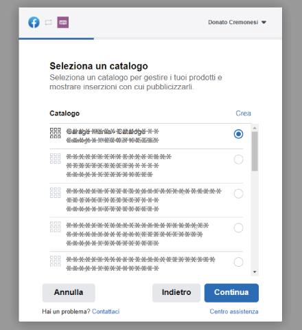 Factory Communication Setup plugin Facebook for WooCommerce - STEP 5 - Seleziona un Catalogo