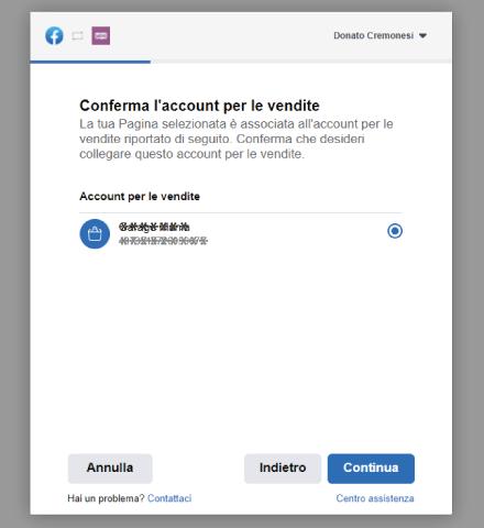 Factory Communication Setup plugin connessione Facebook a WooCommerce - STEP 7 - Conferma l'Account per le vendite