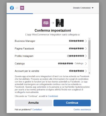 Factory Communication Setup plugin Facebook per WooCommerce - STEP 8 - Conferma impostazioni