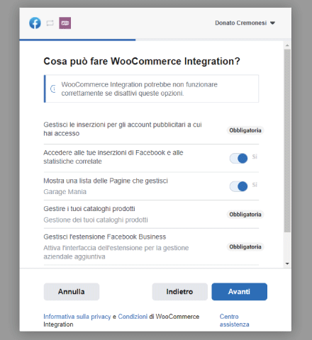 Communication Setup plugin Facebook per WooCommerce - STEP 9 - Cosa può fare WooCommerce Integration