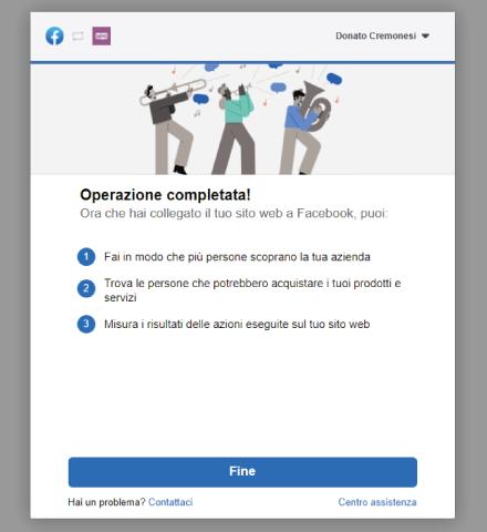 Factory Communication procedura connessione Facebook a WooCommerce - STEP 11 - Operazione completata