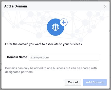 Procedura verifica dominio web in Facebook Business Manager
