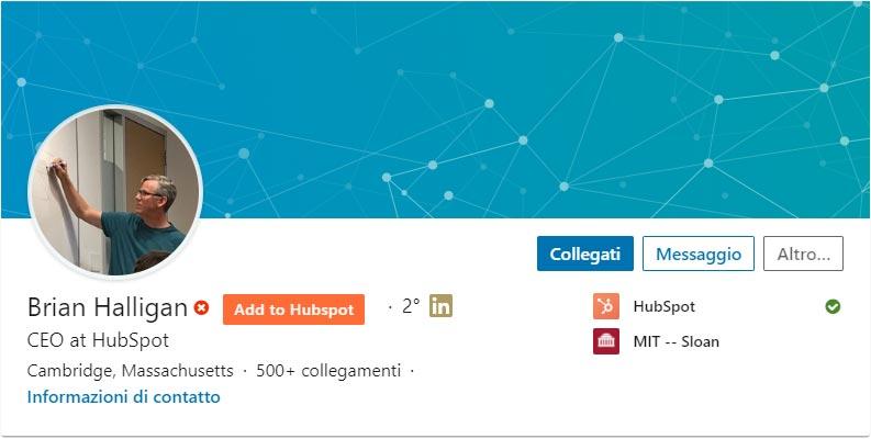 Profilo Linkedin Brian Halligan CEO HubSpot