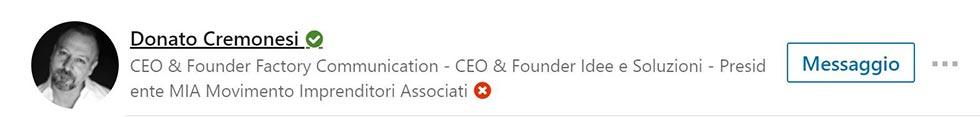 Profilo Linkedin Donato Cremonesi CEO e Founder Agenzia Factory Communication