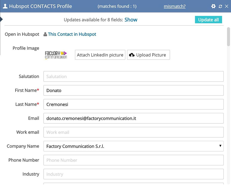 Scheda LinkMatch for Hubspot di Donato Cremonesi CEO e Founder Agenzia Factory Communication