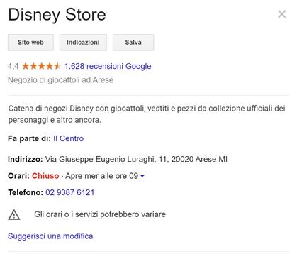 Recensione Google My Business Disney Store