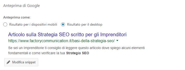 Le Meta description Title e Description indicano a Google come pubblicare il nostro articolo sul motore di ricerca