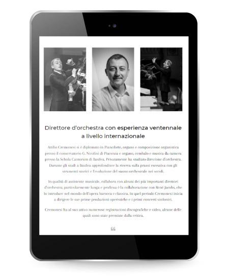 Online il nuovo sito del Maestro d'orchestra Attilio Cremonesi - Factory Communication