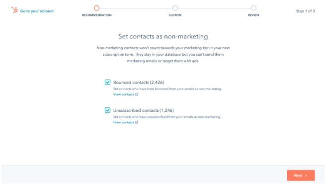 Una importante novità di HubSpot consiste nella divisione dei contatti in due categorie: Marketing e non Marketing