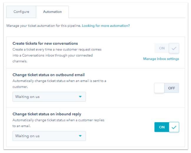 HubSpot Service Hub Automazione dello stato di un ticket