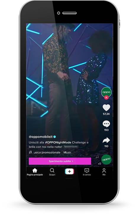 Factory Communication annuncio in-feed di oppo mobile su tiktok ad