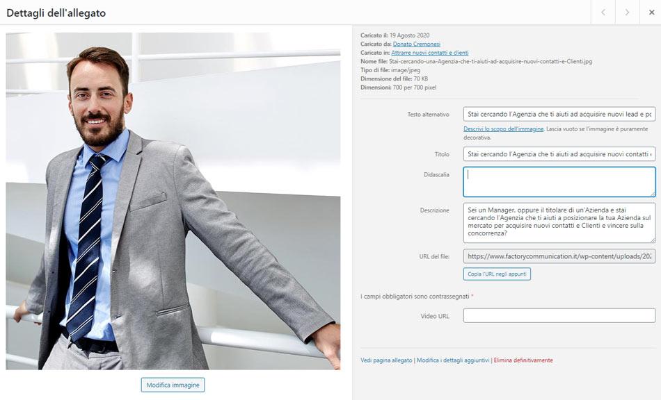 Interfaccia delle informazioni aggiuntive delle immagini in WordPress