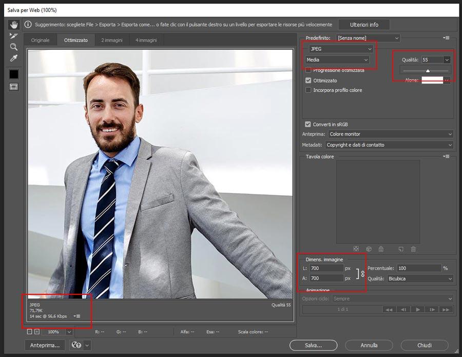 Parametri ottimizzazione immagine formato JPG in Photoshop
