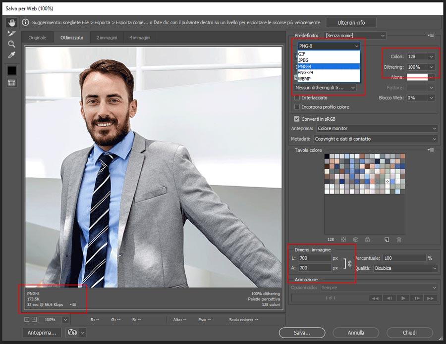 Parametri ottimizzazione immagine formato PNG in Photoshop