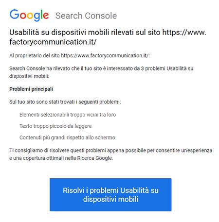 Notifica di Google Search Console relativa l'usabilità di un'immagine sui dispositivi mobile