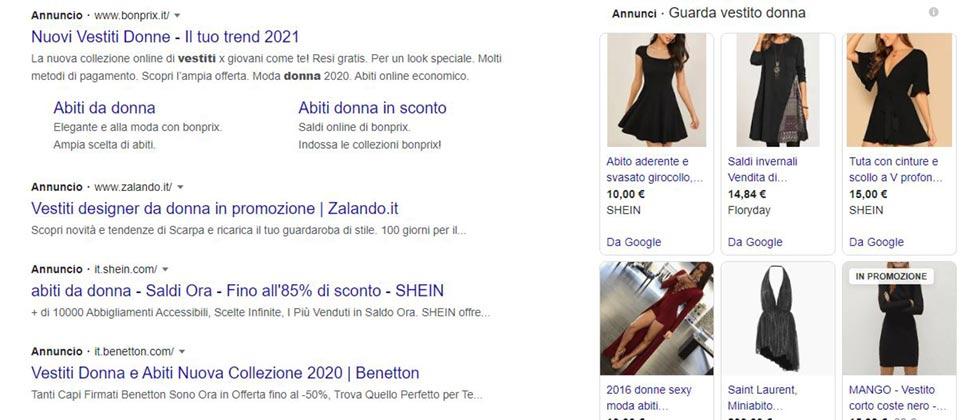 Differenza di visualizzazione degli annunci a pagamento sulla SERP Google
