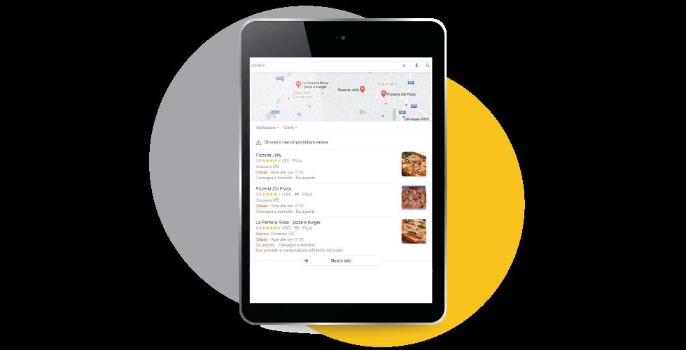 SERP LOCALE Google per ricerca pizza pizzerie