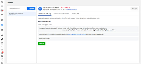Business Manager impostazione pixel facebook
