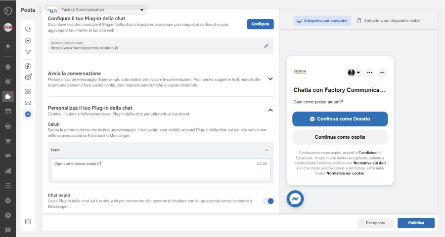 Come aggiungere Facebook Messenger al tuo sito web step 3. Puoi verificare come viene visualizzato il login
