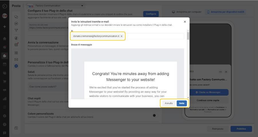 Come aggiungere Facebook Messenger al tuo sito web step 9. Hai dei dubbi sulla procedura? Puoi inviare al tuo Webmaster le istruzioni