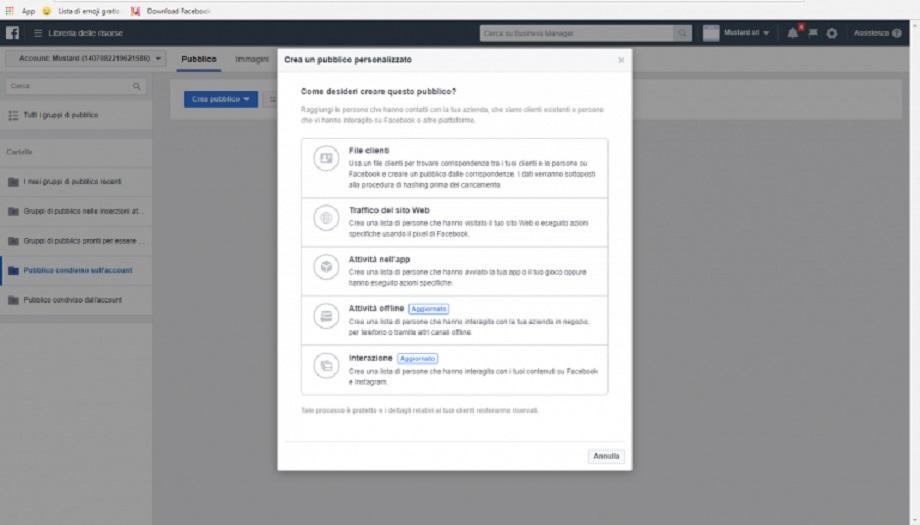 Come creare un pubblico personalizzato in Facebook