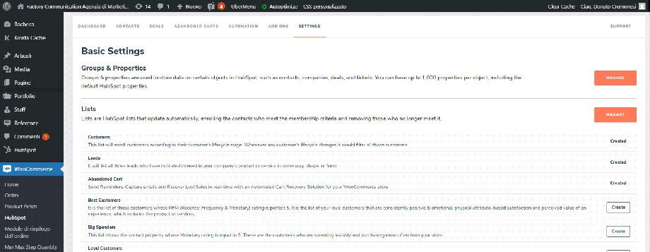 Attivazione Liste dal pannello HubSpot presente in WooCommerce