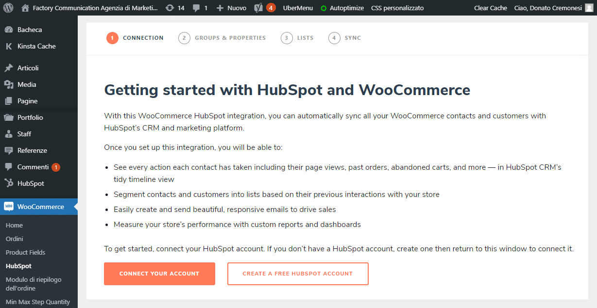 Connessione di WooCommerce con HubSpot