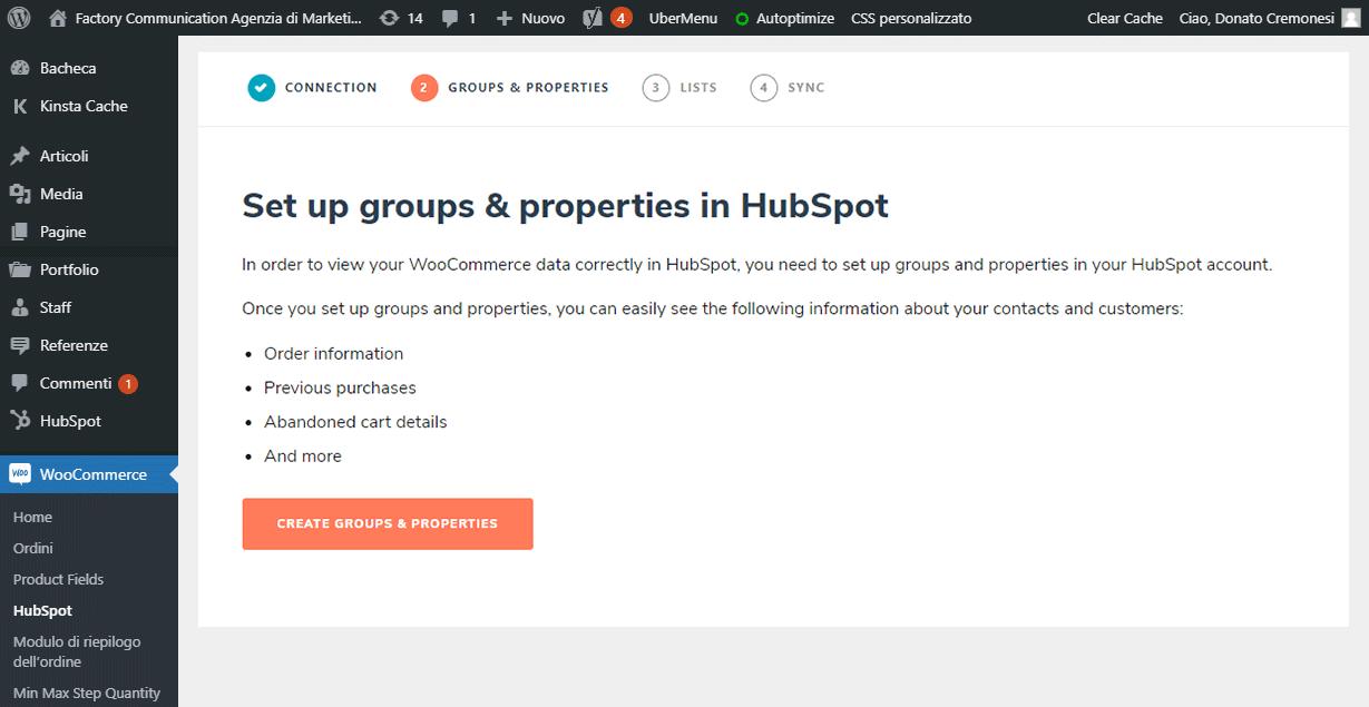 Imposta gruppi e proprietà in HubSpot