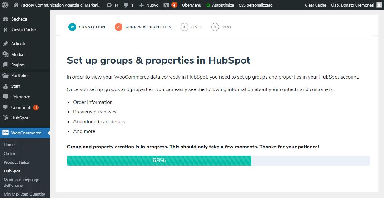 Procedura di allineamento di WooCommerce con HubSpot