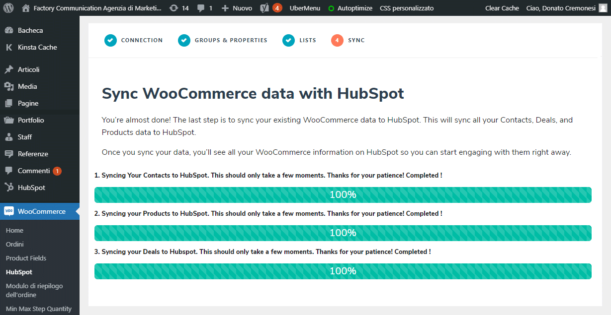 Sincronizzazione di WooCommerce con HubSpot