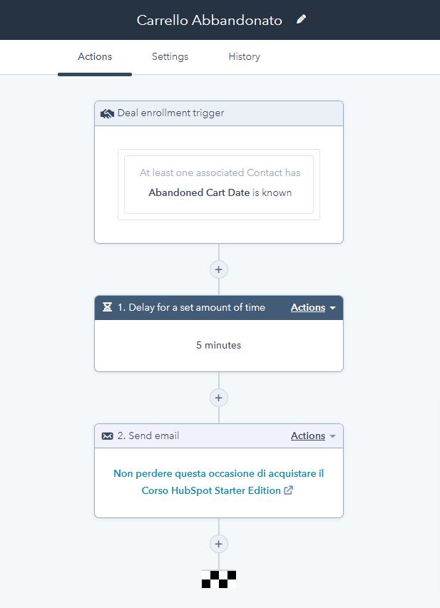 Workflow carrello abbandonato formazione HubSpot Starter Edition